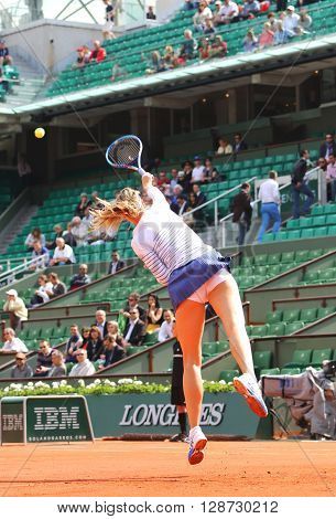 PARIS, FRANCE- MAY 27, 2015: Five times Grand Slam champion Maria Sharapova in action during her third round match at Roland Garros 2015 in Paris, France