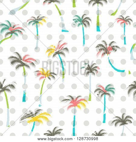 Pattern of palm trees . Palm trees seamless.  Tropical palm tree watercolor style