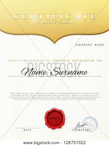 Design Certificate . Certificate border. Certificate details gold pattern . Certificate Diploma . Certificate of achievement. White background with gold. Premium present certificate. Certificate frame