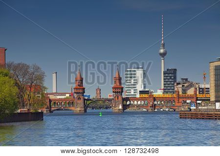 Berlin. Image of Berlin skyline with tv tower and Oberbaum bridge.