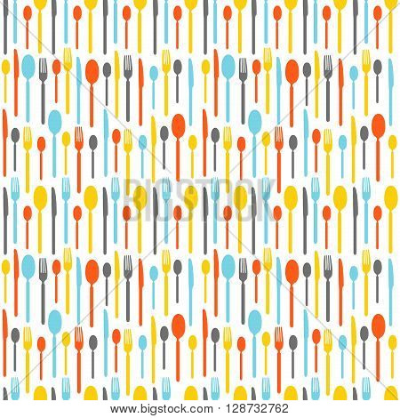 Colorful seamless pattern with silhouettes of cutlery. Wallpaper with colored silhouettes of cutlery. Silhouettes fork, knife, teaspoon, tablespoon. Vector illustration