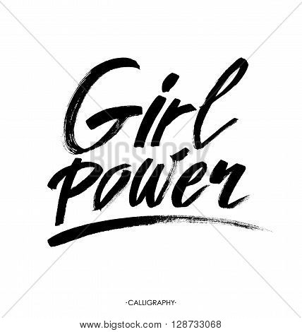 Girl power. Inspirational quote, feminism quote. Hand lettering with white outline at pink textured background. Phrase for posters, t-shirts and wall art. Vector design.