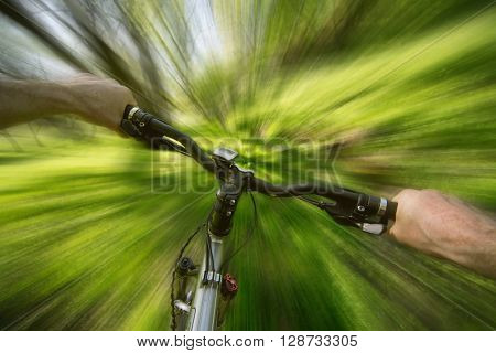 Male cyclist traveling through the woods in early spring. Blurry background.