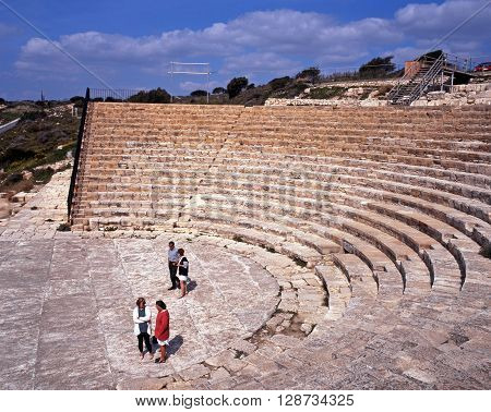 KOURION, CYPRUS - MARCH 13, 1996 - View of the Roman theatre ruin near Limassol Kourion Cyprus, March 13, 1996.