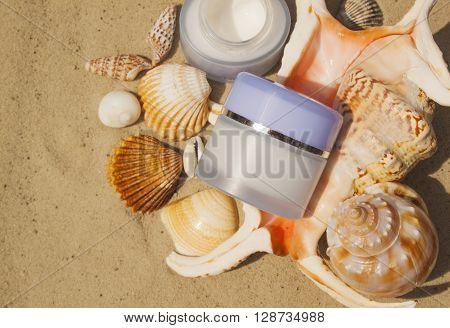 Cosmetic cream with marine components. Organic cosmetics. Spa.