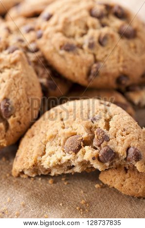 Image of homemade sweet chocolate biscuit close up