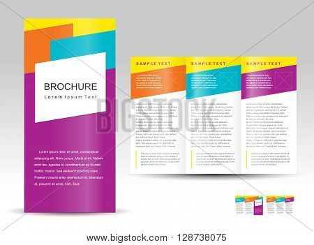 Vector Brochure Tri-fold Layout Design Template colorful