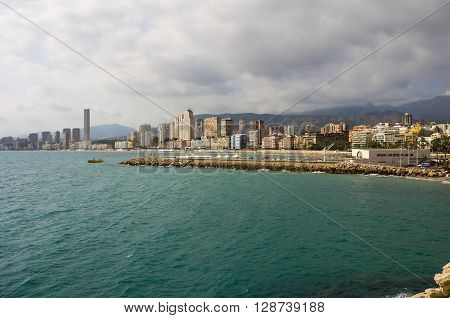The coast of Mediterranean resort Benidorm province of Alicante Spain