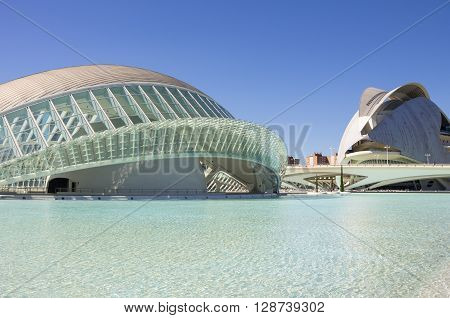 VALENCIA SPAIN - OCTOBER 08 2014: El Palau de les Arts Reina Sofia and L'Hemisferic in Valencia Spain