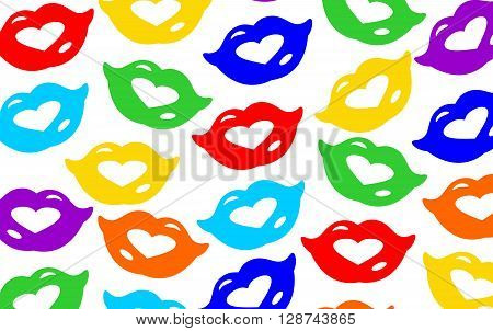 Background with different coloured lips with smiles