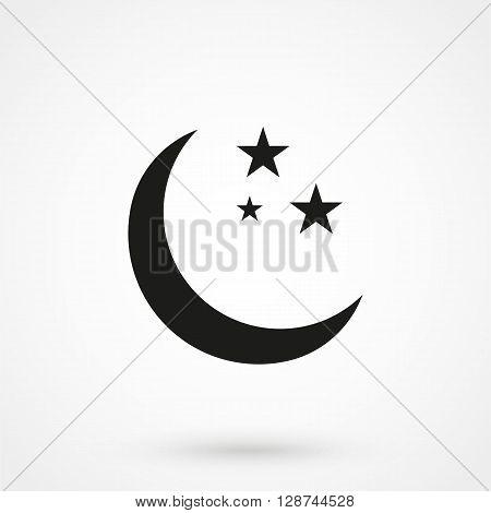 Starry Moon Icon Vector