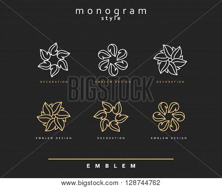 Set of elegant monogram design. Monogram design element . Monogram for use in the design . Monogram decor . Emblem design. Elegant monogram design