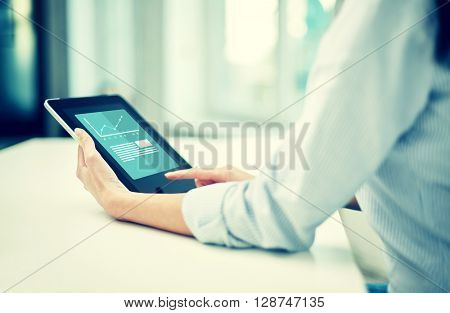 business, technology, statistics, progress and people concept - close up of woman with tablet pc computer showing growing charts at office or home