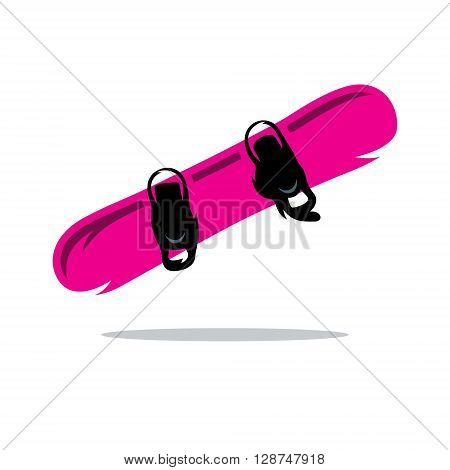Pink snowboard with fixation for shoes Isolated on a White Background