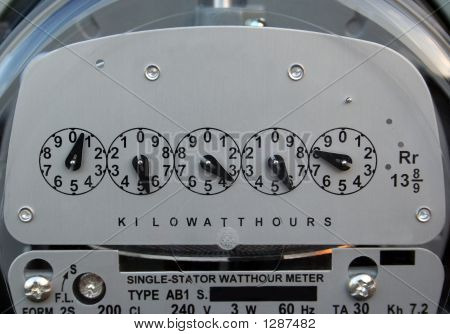 A nice close-up shot of an electric meter. poster