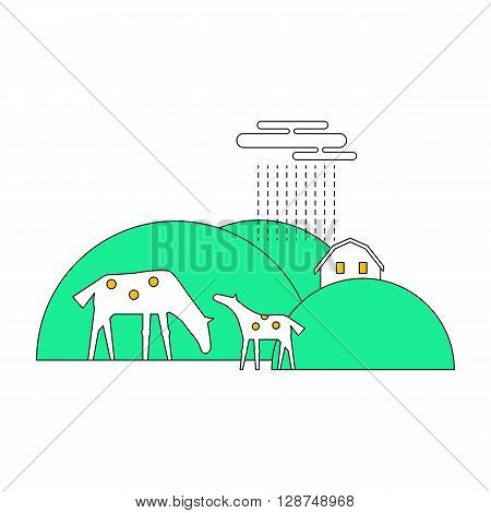 Thin line flat design of rural landscape. Thin line abstract countryside with hill animals house. Set of design elements for rural landscape isolated on white background. Rural life.