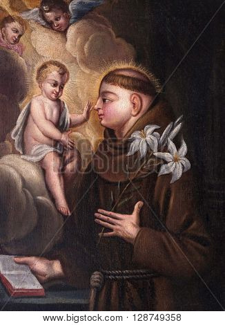 KOTARI, CROATIA - SEPTEMBER 16: Saint Anthony of Padua in the church of Saint Leonard of Noblac in Kotari, Croatia on September 16, 2015.