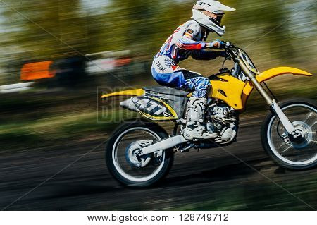 Miasskoe Russia - May 02 2016: closeup of a rider on a motorcycle rides on race track during Cup of Urals motocross