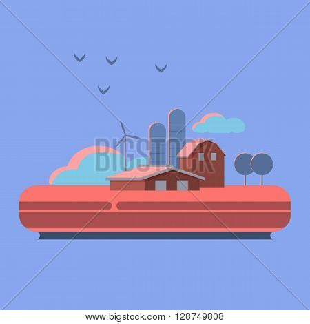 Vector illustration rural landscape. Rural landscape with hill farm animals. Rural life. Rural lifestyle. Rural landscape with rural buildings farm valley. Sunset and countryside.