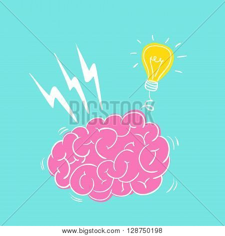 Vector hand drawn brain with light bulb. Idea concept.
