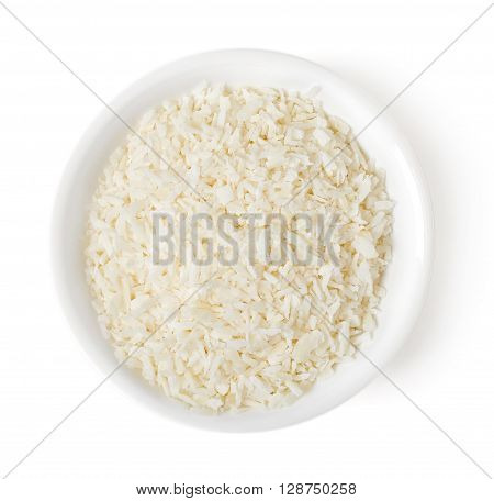 Bowl Of Grated Coconut On White Background, Top View