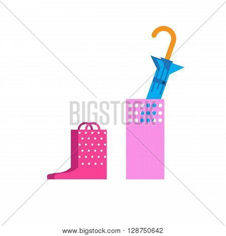A pair of rainboots and an umbrella on a white background. Flat vector illustration pink rubber boots and blue umbrella isolated.