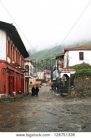 Karia - the capital of Athos monastic republic after the rain. Greece