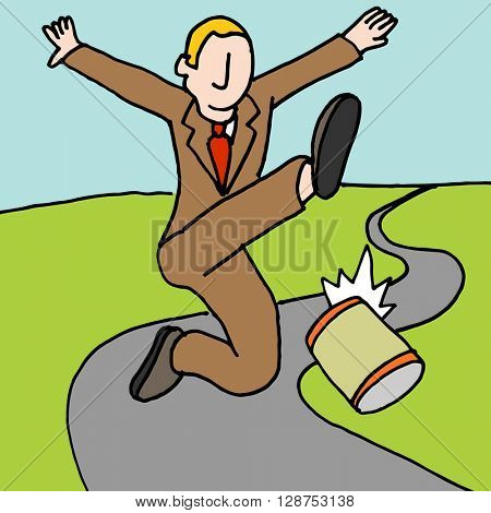 An image of a man kicking can down the road metaphor.