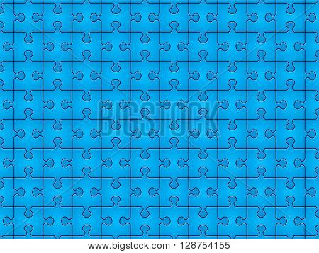 Blue jigsaw puzzle pieces pattern background. Vector illustration.