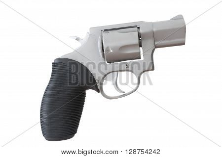 Revolver with a snub nosed barrel isolated on white poster