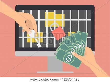 Human hand holding money banknote for paying the key from hacker for unlock jail for folder got ransomware malware virus computer. Vector illustration technology data privacy and security concept.