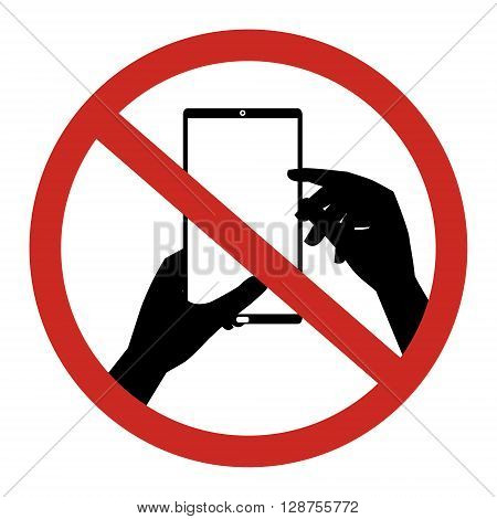 No mobile phone Texting Text messaging sign. Vector illustration restrict sign concept design.