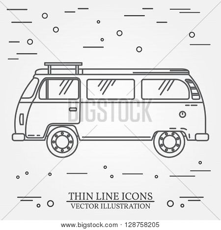 Travel Bus Family Camper Thin Line. Traveler Truck Tourist Bus Outline Icon. Rv Travel Bus Grey And