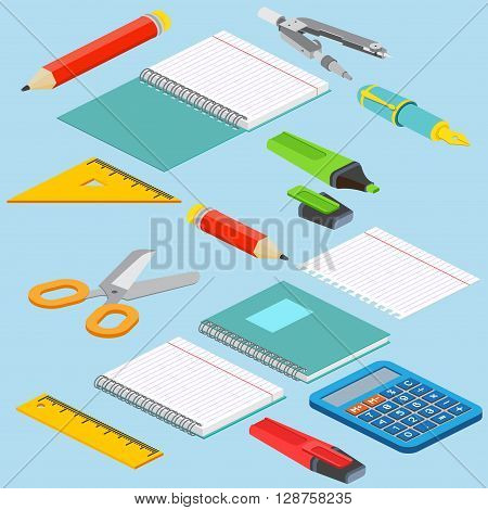Isometric Illustration On A Blue Background With The Image Ruler, Calculator, Markerpen, Pencil, Pen