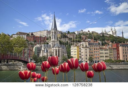 cityscape of colorful old lyon france with red tulips