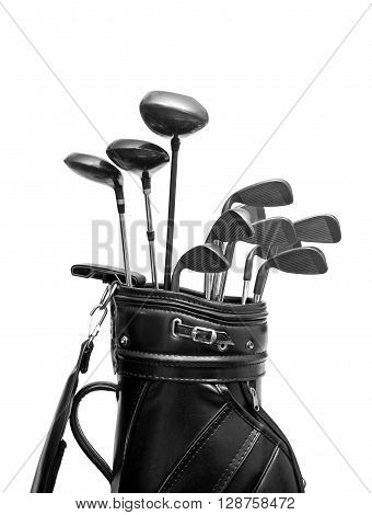 Golf clubs in a black leather bag / isolated on white background