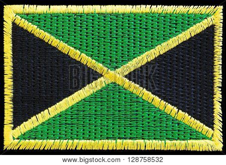 Linen fabric patch of the jamaican flag