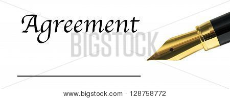 the word Agreement with golden fountain pen