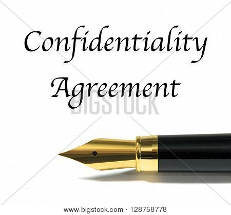Confidentiality agreement writtten with golden fountain pen