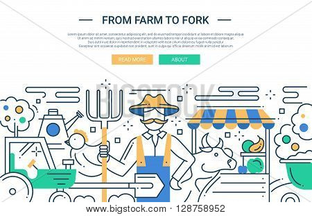 Illustration of vector modern line flat design website banner, header with a farmer and farm products