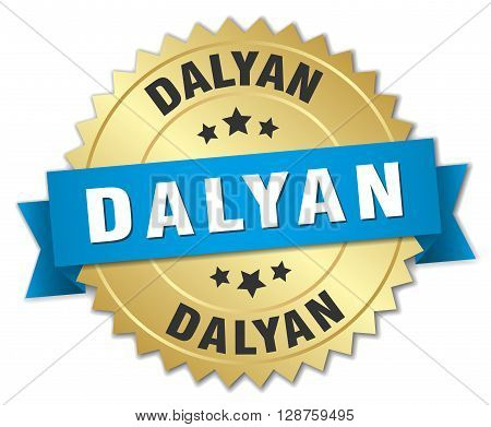Dalyan round golden badge with blue ribbon