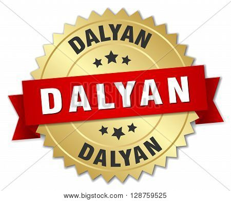 Dalyan round golden badge with red ribbon