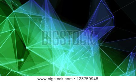 Advanced stylish plexus fantasy abstract technology and engineering background. Colorful unfolding polygons. 3d rendering.
