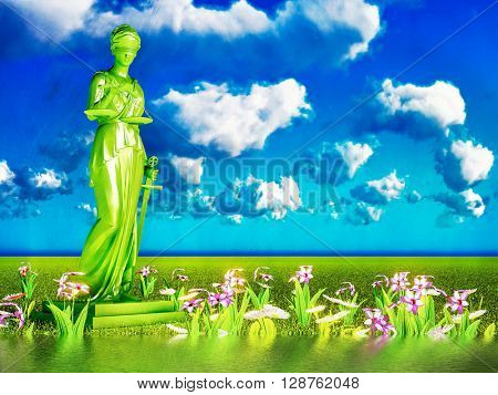Lady of justice and flowers, 3d illustration