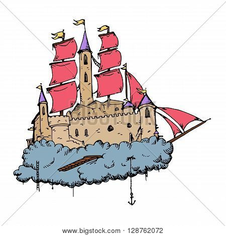 Flying castle ship. Hand drawn vector stock illustration