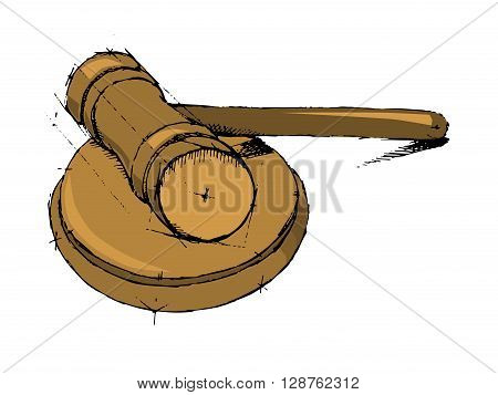 Justice hummer. Judge gavel. Hand drawn vector stock illustration