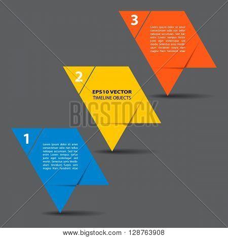 Three steps timeline objects. Abstract shape with shadows. Place for text inside shape. Vector illustration.
