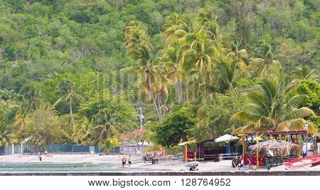 Martinique island French West Indies France-April 17 2016 : The beach of Sainte Anne Martinique island.