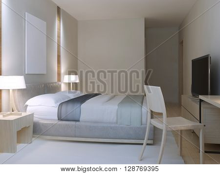 Hotel room minimalist style. Spacious room with dressed lether double bed cozy table with chair near to window and white nylon carpet. 3D render