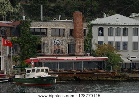 ISTANBUL/TURKEY-OCTOBER 14, 2014: Luxury waterside mansion at the Bosphorus, on October 14, 2014 in Istanbul Turkey.